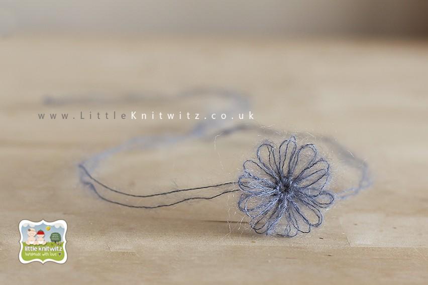 Loom Flower Headband   Grey