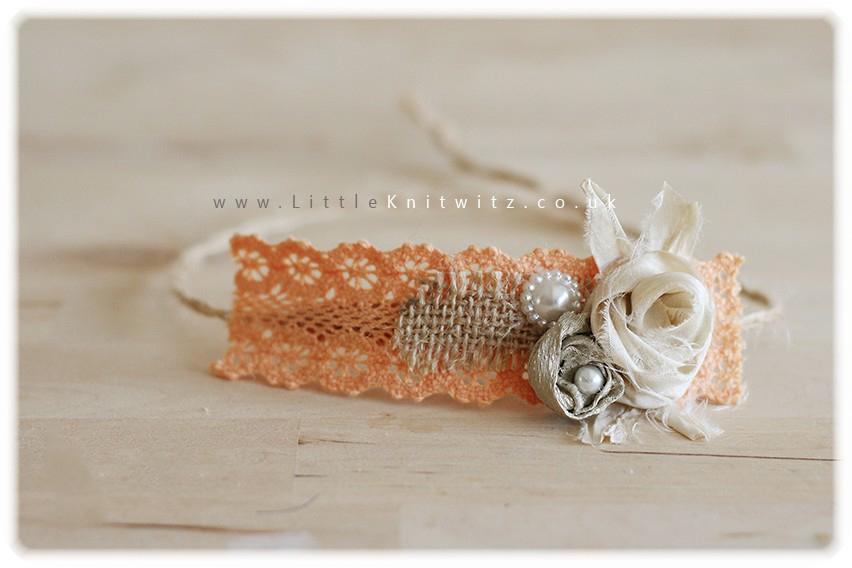 Burlap & Lace headband   Peach