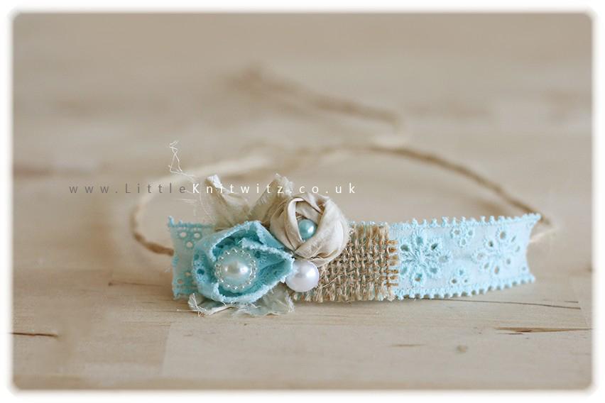Burlap & Lace headband   Aqua
