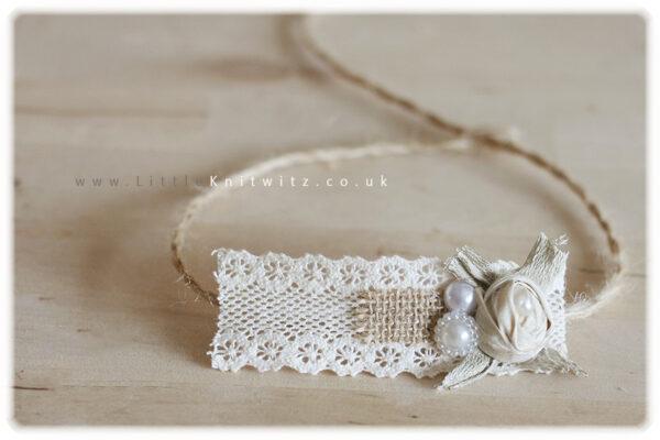 Burlap & Lace headband | Ivory