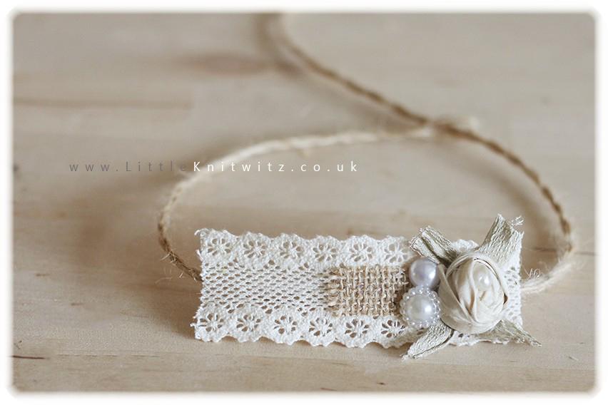 Burlap & Lace headband   Ivory