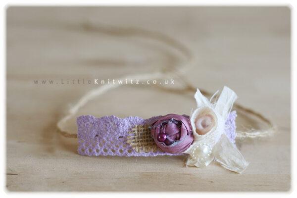 Burlap & Lace headband | Lilac