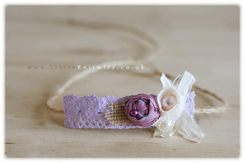 Burlap & Lace headband   Lilac