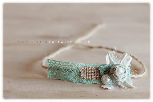 Burlap & Lace headband | Robins Egg
