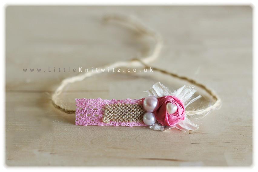 Burlap & Lace headband   Pink