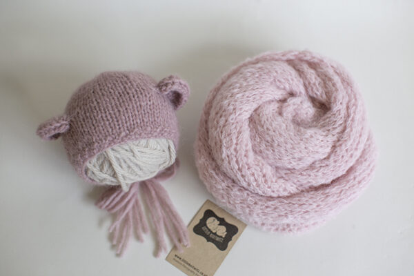 Bear Bonnet and Knit Wrap