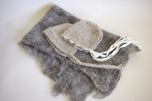 Alpaca bonnet felted wrap set