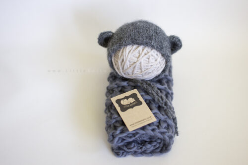 bear bonnet Textured mini blanket set