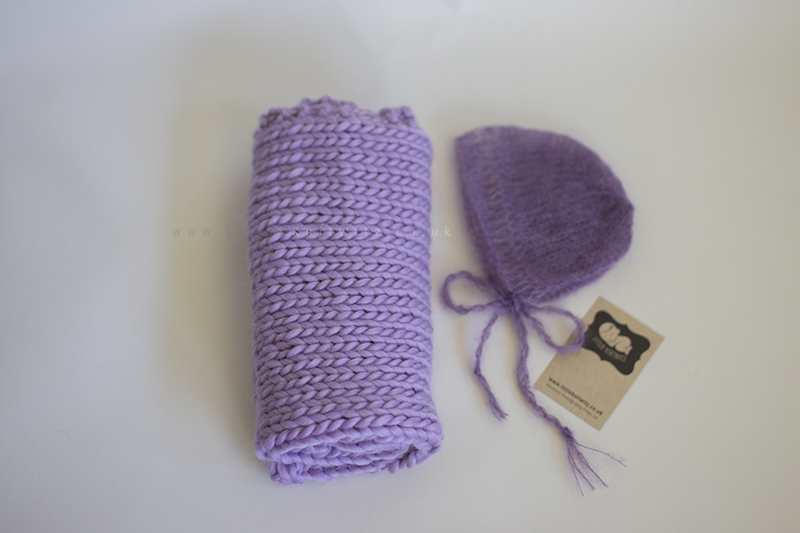 Mohair bonnet mini blanket set