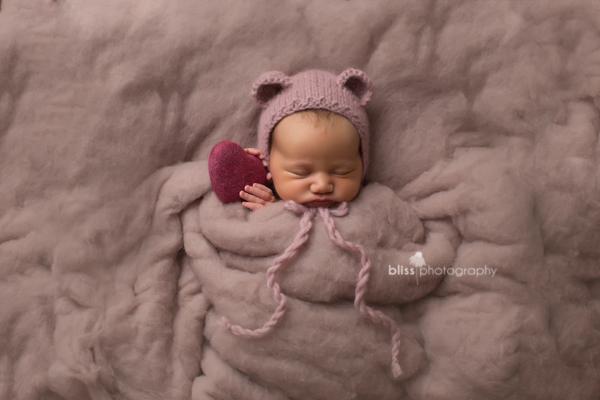 Newborn Bear Bonnet and Felted Heart