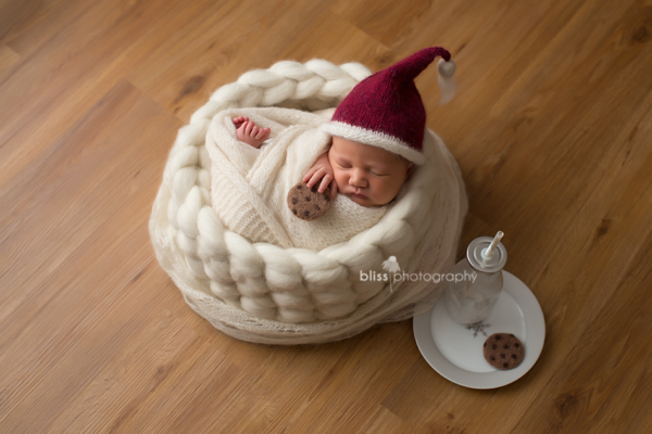 Newborn Santa Hat, Wool Bowl
