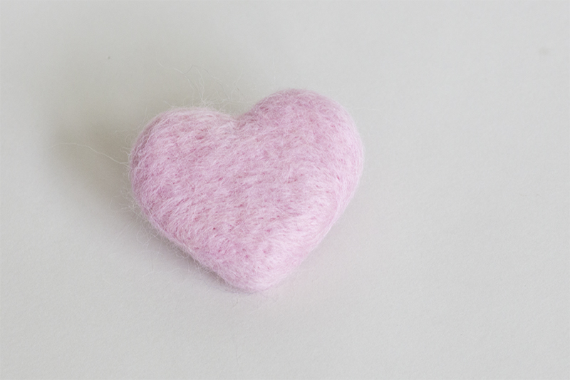 Baby Pink Felted Heart