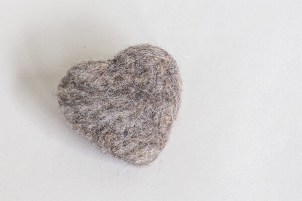 Grey Felted Heart