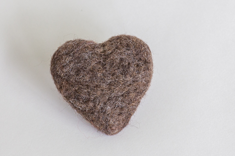 Mocca Felted Heart