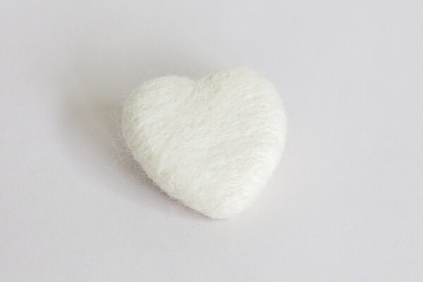 White Ivory Felted Heart