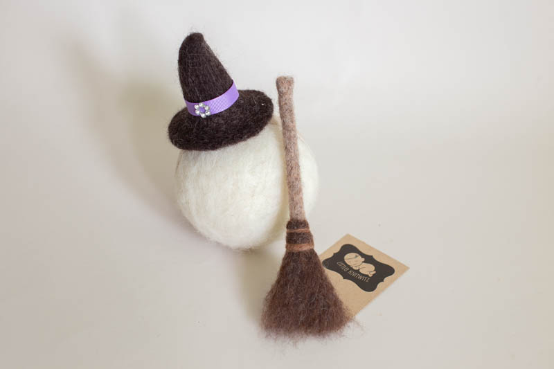 Felted Witches Hat Broom