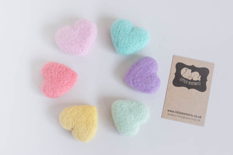 Felted Pastel hearts