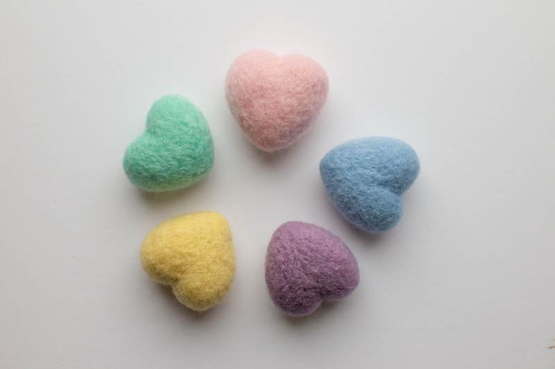 Pastel Felted Hearts