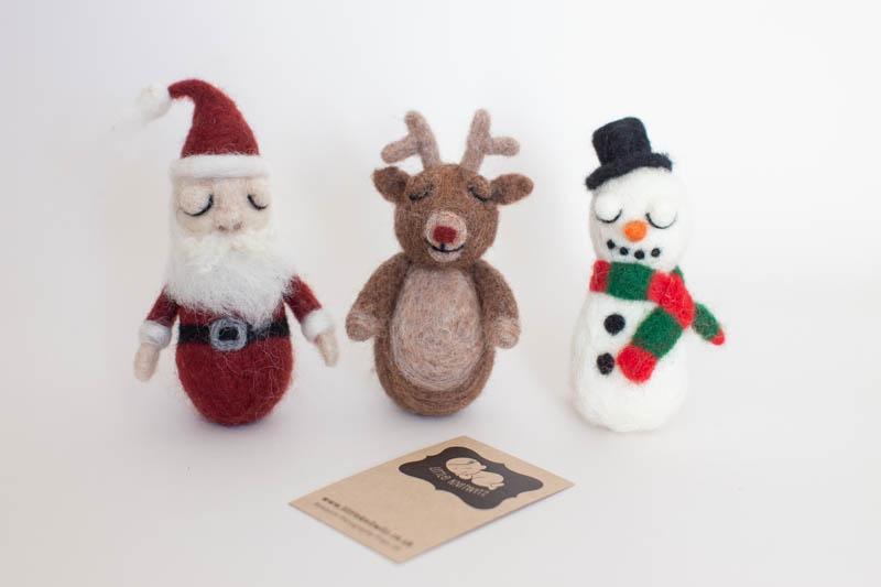 Felted Santa, Felted Snowman, Felted Reindeer